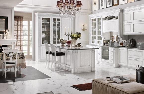 белая мебель для кухни в классическом стиле